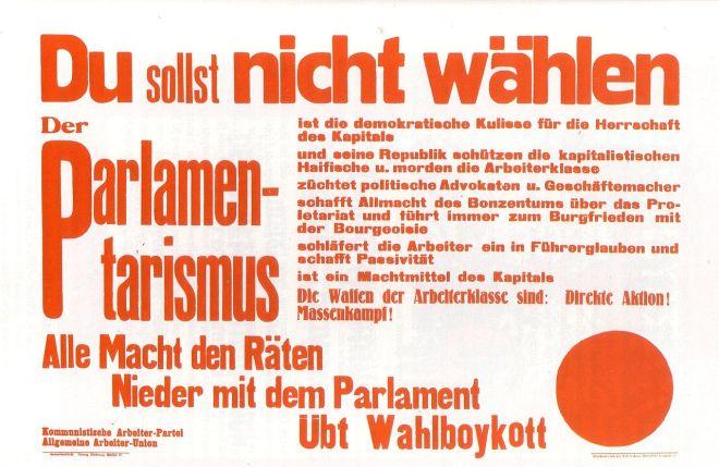 Aufruf der Kommunistische Arbeiter Partei und der Allgemeinen Arbeiter-Union vor der Reichstagswahl am 6. Juni 1920