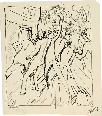 Georg Grosz 'Auflauf - Revolution'