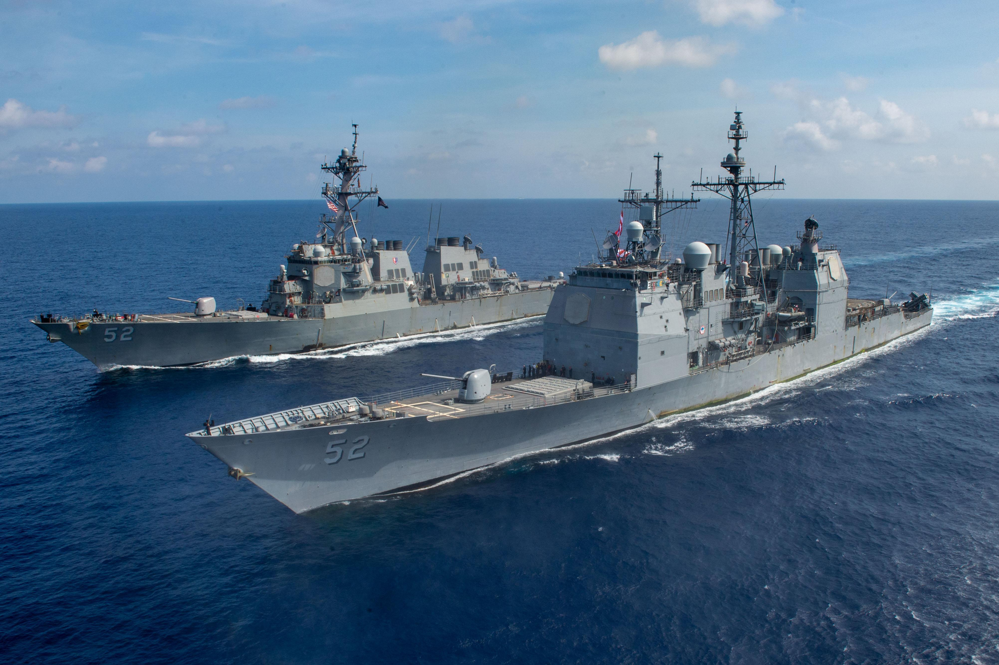 USS Bunker Hill (CG 52) Sails the South China Sea